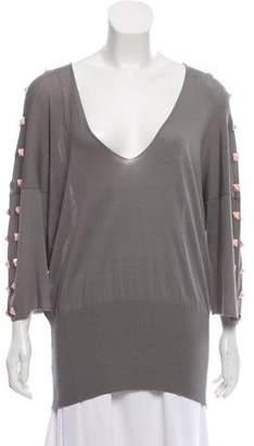 Fuzzi Embellished V-Neck Sweater w/ Tags