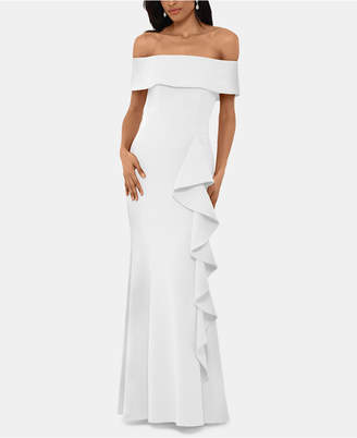 Betsy & Adam Off-Shoulder Ruffled Gown