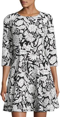 Eliza J 3/4-Sleeve Fit-and-Flare Dress, Black/Ivory $119 thestylecure.com