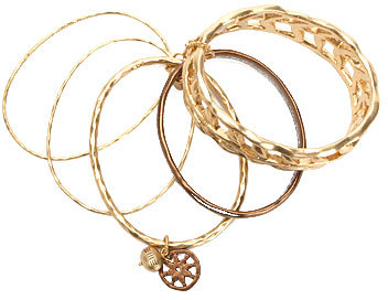 Gold and Brown Multi Textuered Bangle Bracelets