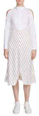 Maje Striped Chevron Cold Shoulder Shirt Dress
