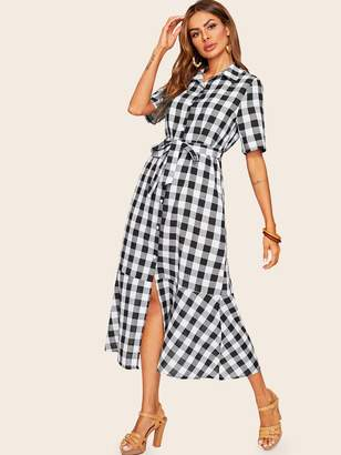 ea0dff114e Shein Gingham Ruffle Hem Belted Shirt Dress