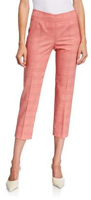 Piazza Sempione Audrey Prince of Wales Check Pants, White-Red