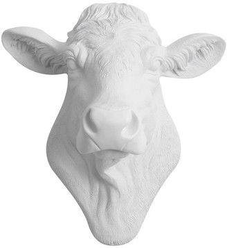 White Faux Taxidermy Faux Resin Cow Head Wall Mount