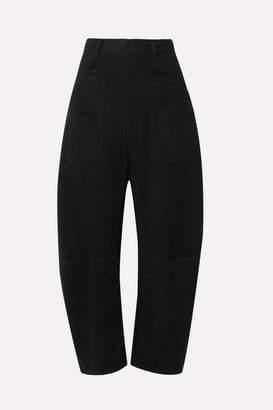 Nili Lotan Shon Cotton-blend Twill Tapered Pants - Black