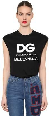 Dolce & Gabbana Logo Printed Jersey Sleeveless T-Shirt