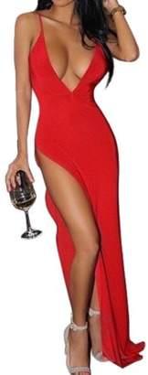 Glowsol Women's Fashion Sexy Deep V-neck Backless Spaghetti Strap Maxi Tank Split Side Long Dress Red Asia L