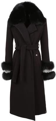 Philipp Plein Fox Fur Trim Coat
