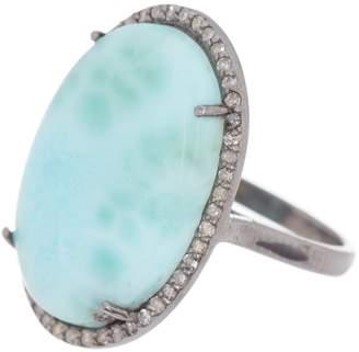 ADORNIA Larimar & Diamond Cabochon Ring