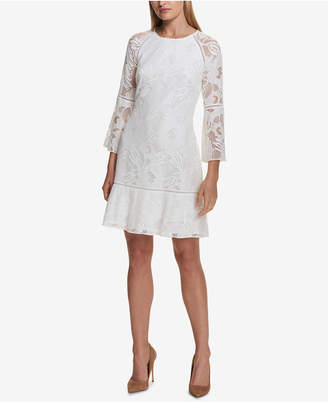 Kensie Bell-Sleeve Lace Shift Dress