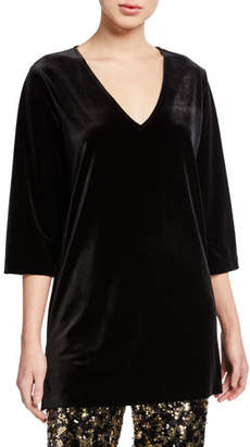 Joan Vass Plus Size V-Neck 3/4-Sleeve Velvet Easy Tunic