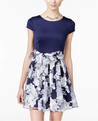 B. Darlin Juniors' Belted Floral-Print Fit & Flare Dress