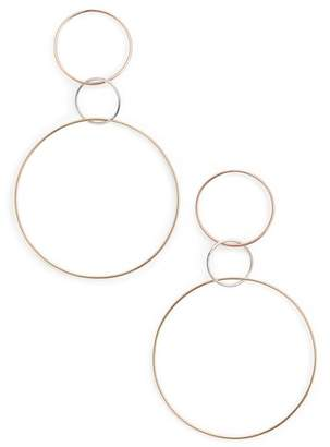 Lana Tri-Tone Three Hoop Wire Drop Earrings