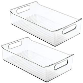 mDesign Wide Plastic Kitchen Pantry Refrigerator Food Storage Bin