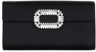 Roger Vivier Silk Satin Crystal Envelope Clutch