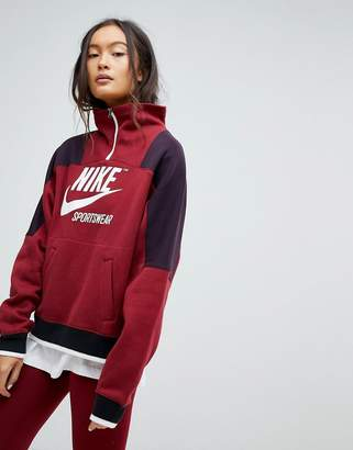 Nike Archive Half Zip Pullover Sweatshirt In Burgundy