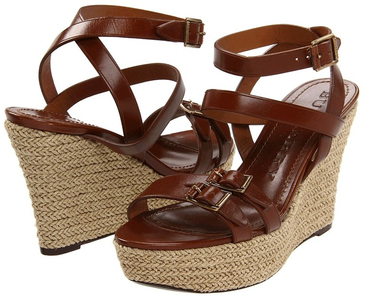 Burberry Ward Buckled Platform Espadrille (Dark Tan) - Footwear