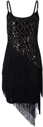 Ez-sofei Women's Vintage Sequined Embellished Tassels Gatsby Flapper Cocktail Dress (S, Black Tassels)