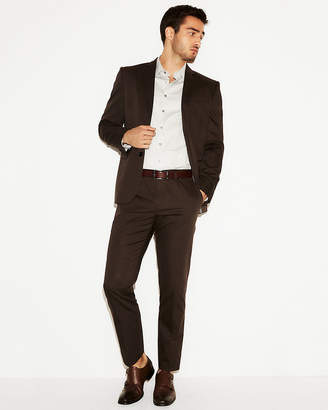 Express Slim Brown Cotton Sateen Suit Pant