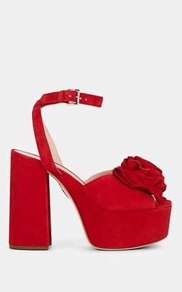 Miu Miu Women's Flower-Appliquéd Suede Platform Sandals - Rosso