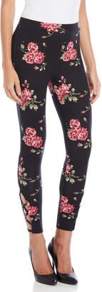 Poof Apparel Floral Lattice Hem Leggings