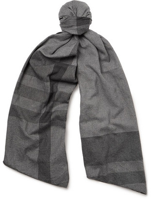 Checked Cotton-Twill Scarf