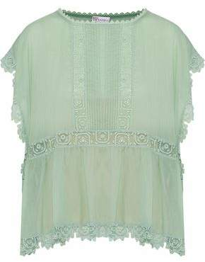RED Valentino Crochet-Trimmed Pintucked Cotton-Voile Blouse