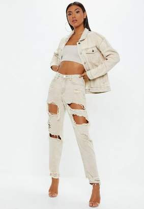 Missguided Sand Extreme Ripped Mom Jeans Co-Ord