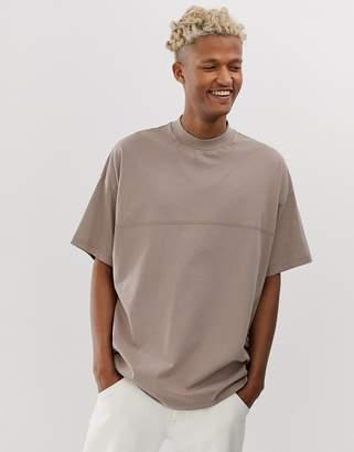 BEIGE Asos Design ASOS DESIGN oversized t-shirt with seam detail & turtle neck in