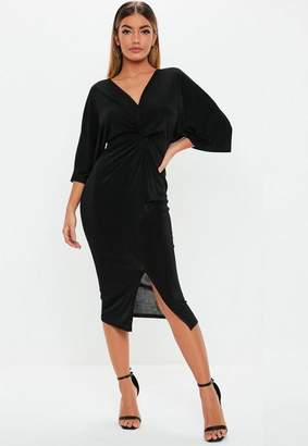 Missguided Black Kimono Sleeve Twist Front Bodycon Midi Dress
