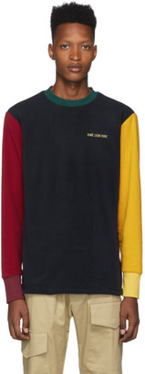 Leon Aime Dore Navy and Yellow Fleece Colorblocked Logo Sweatshirt