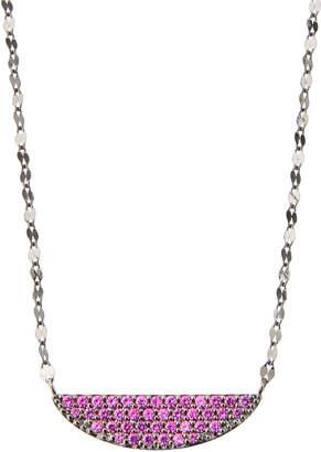 Lana 14k Electric Crescent Pendant Necklace, Pink Sapphire