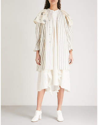 RENLI SU Collar-panel striped cotton and linen-blend jacket