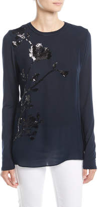 Elie Tahari Jayln Silk Blouse with Sequin Stargazer Lily Flower