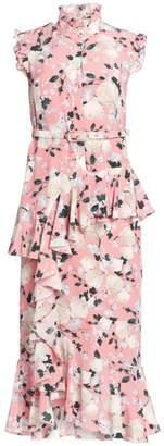 Erdem Irina Floral Button Down Midi Dress