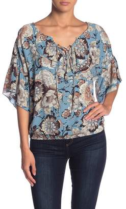 Sanctuary Lace-Up Patterned Blouse