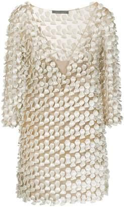 Alberta Ferretti textured honeycomb cutout dress