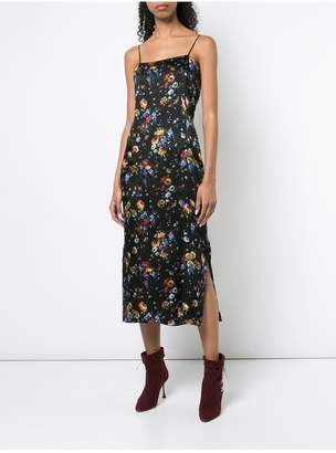 ADAM by Adam Lippes Floral Hammered Silk Camisole Dress
