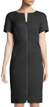 Lafayette 148 New York Deja Zip-Front Bi-Stretch Sheath Dress, Black