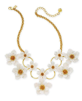 "Kate Spade Gold-Tone Flower Statement Necklace, 17"" + 3"" extender"