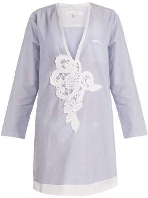 Lila Eugénie Lila Eugenie - 1817 Deep V Neck Striped Cotton Shirt - Womens - Blue Stripe