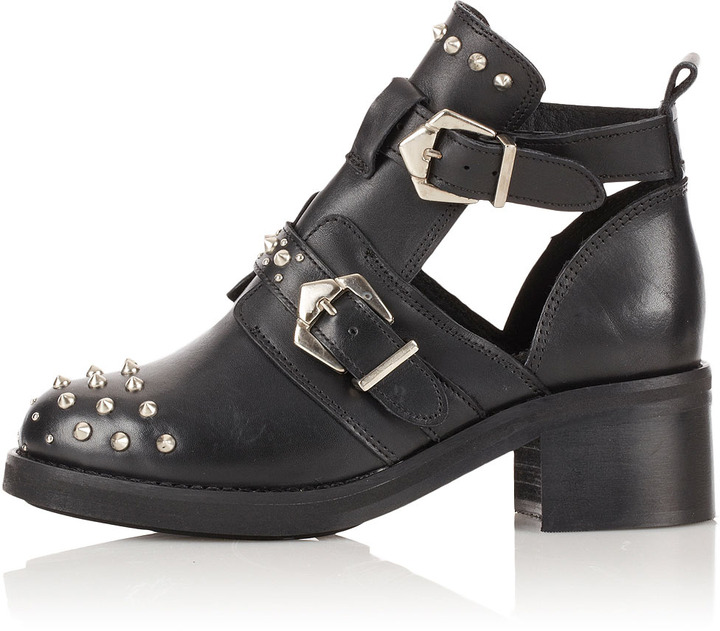 Topshop ARABEL Cut Out Studded Boots