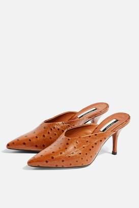 Topshop JACKSON Leather Tan Mid Mules