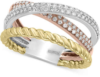 Effy Diamond (3/8 ct. t.w.) Tri-Color Statement Ring in 14k Gold, 14k White Gold and 14k Rose Gold