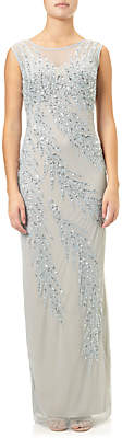 Adrianna Papell Cap Sleeve Beaded Gown, Blue Heather/Silver