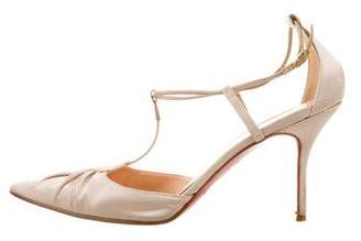 Christian Louboutin Satin Pointed-Toe Pumps