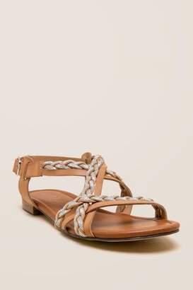 Unisa Kinda Braided Metallic Gladiator Sandal - Tan