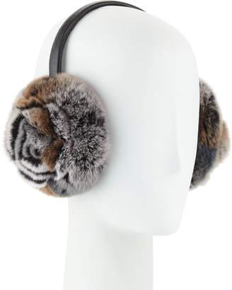 Adrienne Landau Petal Rosette Rabbit Fur Earmuffs, Gray