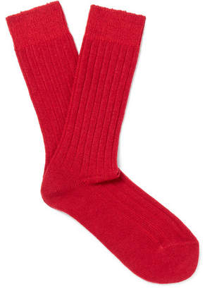 Anderson & Sheppard Ribbed-Knit Wool-Blend Socks