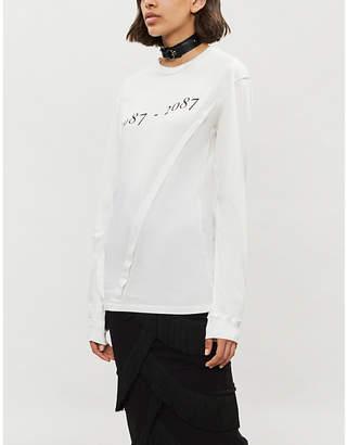Yang Li Layered printed cotton-jersey top